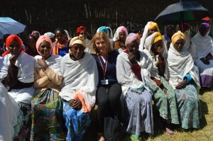 """With women from the """"volunteer army"""" spreading the birth control message in rural Ethiopia. Photo courtesy Linda Roth."""